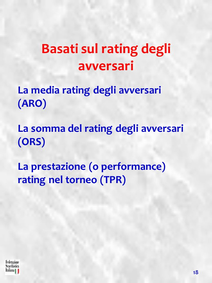 Basati sul rating degli avversari La media rating degli avversari (ARO) La somma del rating degli avversari (ORS) La prestazione (o performance) ratin