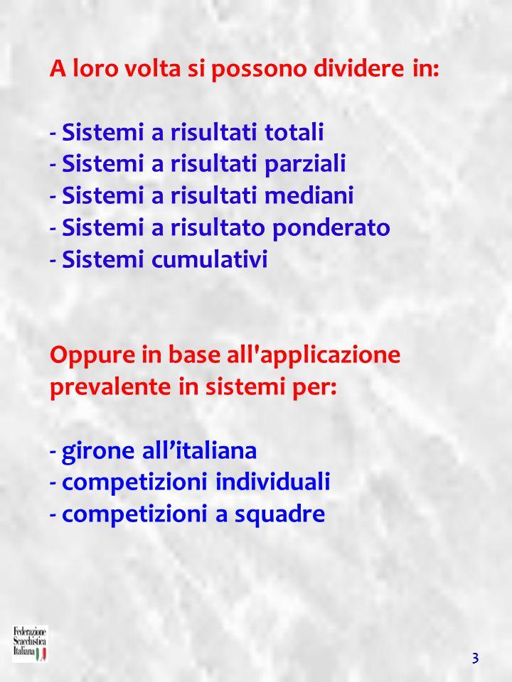 A loro volta si possono dividere in: - Sistemi a risultati totali - Sistemi a risultati parziali - Sistemi a risultati mediani - Sistemi a risultato p