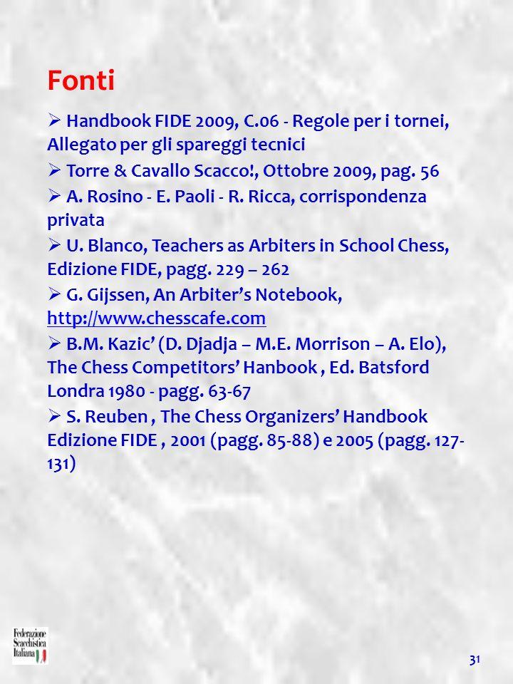 Fonti Handbook FIDE 2009, C.06 - Regole per i tornei, Allegato per gli spareggi tecnici Torre & Cavallo Scacco!, Ottobre 2009, pag. 56 A. Rosino - E.