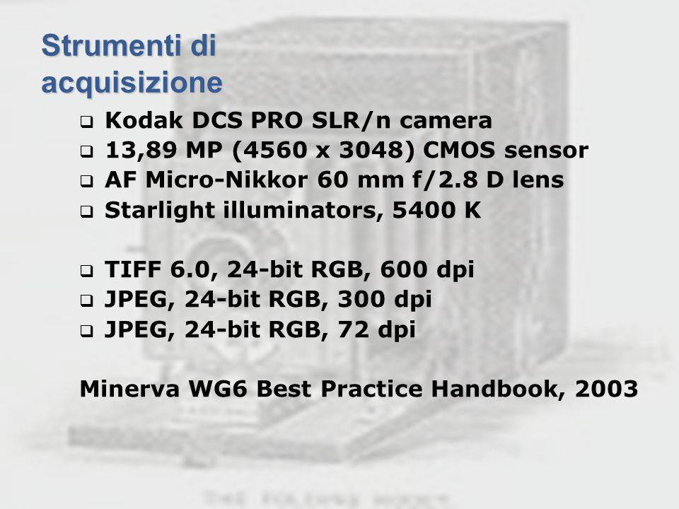 Ischia, 21-23 giugno 2006Riunione Annuale GE 2006 Strumenti di acquisizione Kodak DCS PRO SLR/n camera 13,89 MP (4560 x 3048) CMOS sensor AF Micro-Nik