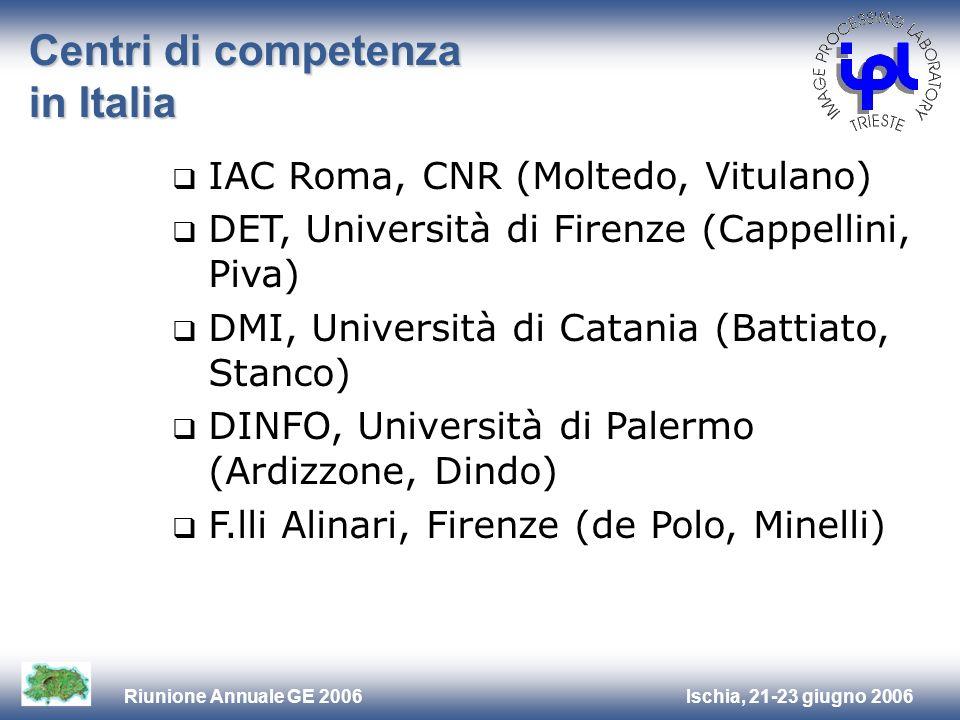 Ischia, 21-23 giugno 2006Riunione Annuale GE 2006 Centri di competenza in Italia IAC Roma, CNR (Moltedo, Vitulano) DET, Università di Firenze (Cappell