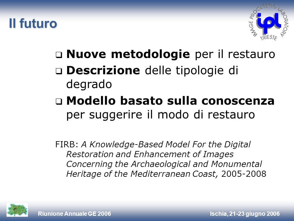 Ischia, 21-23 giugno 2006Riunione Annuale GE 2006 Il futuro Nuove metodologie per il restauro Descrizione delle tipologie di degrado Modello basato su