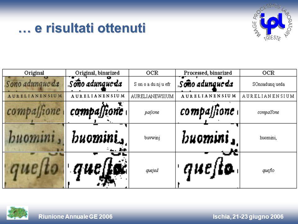 Ischia, 21-23 giugno 2006Riunione Annuale GE 2006 … e risultati ottenuti