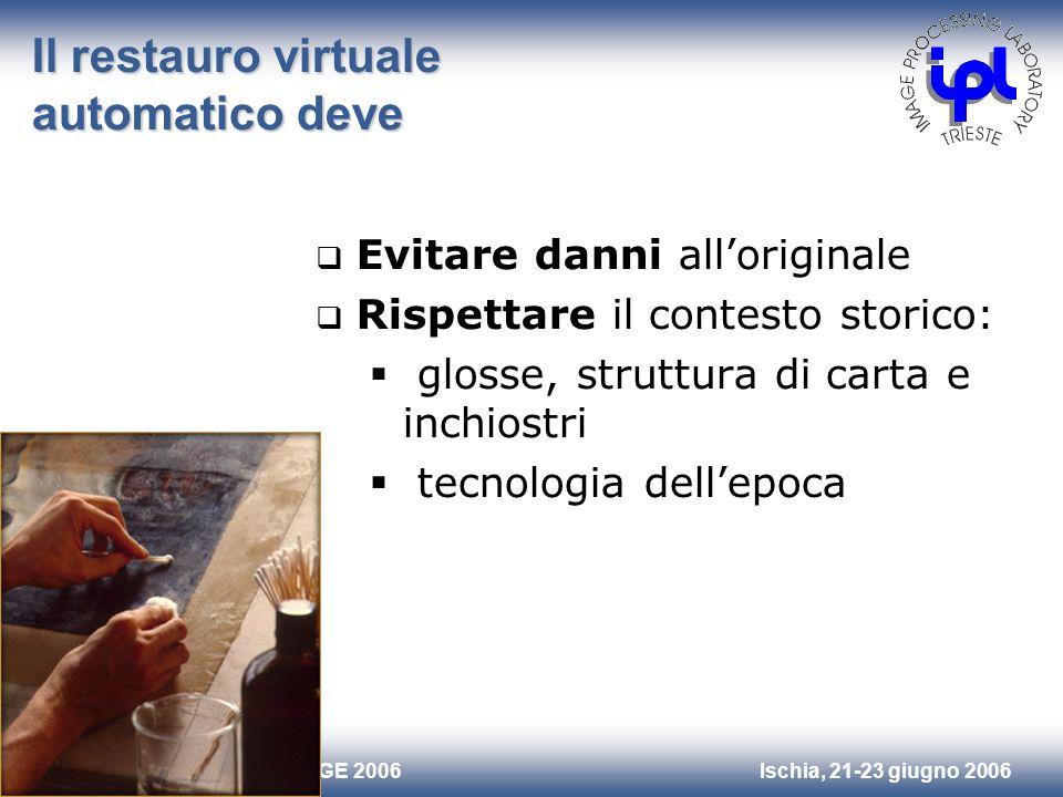 Ischia, 21-23 giugno 2006Riunione Annuale GE 2006 Il restauro virtuale automatico deve Evitare danni alloriginale Rispettare il contesto storico: glos