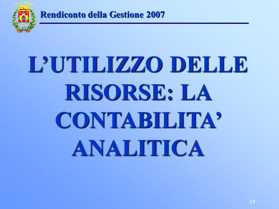 24 Rendiconto della Gestione 2007 LUTILIZZO DELLE RISORSE: LA CONTABILITA ANALITICA