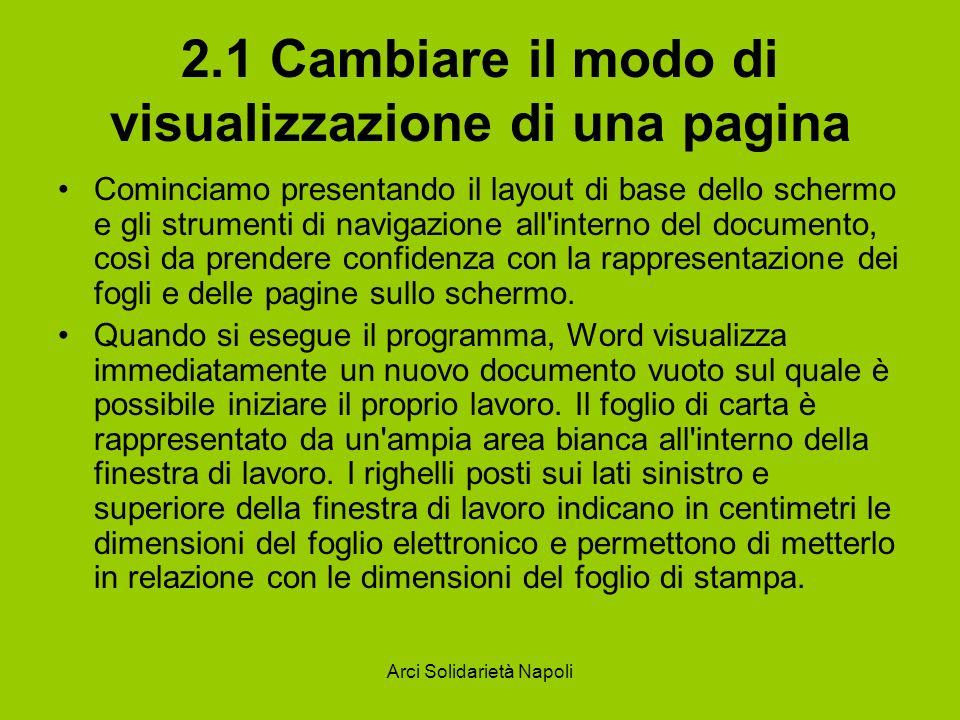 Arci Solidarietà Napoli 2.1 Cambiare il modo di visualizzazione di una pagina Cominciamo presentando il layout di base dello schermo e gli strumenti di navigazione all interno del documento, così da prendere confidenza con la rappresentazione dei fogli e delle pagine sullo schermo.