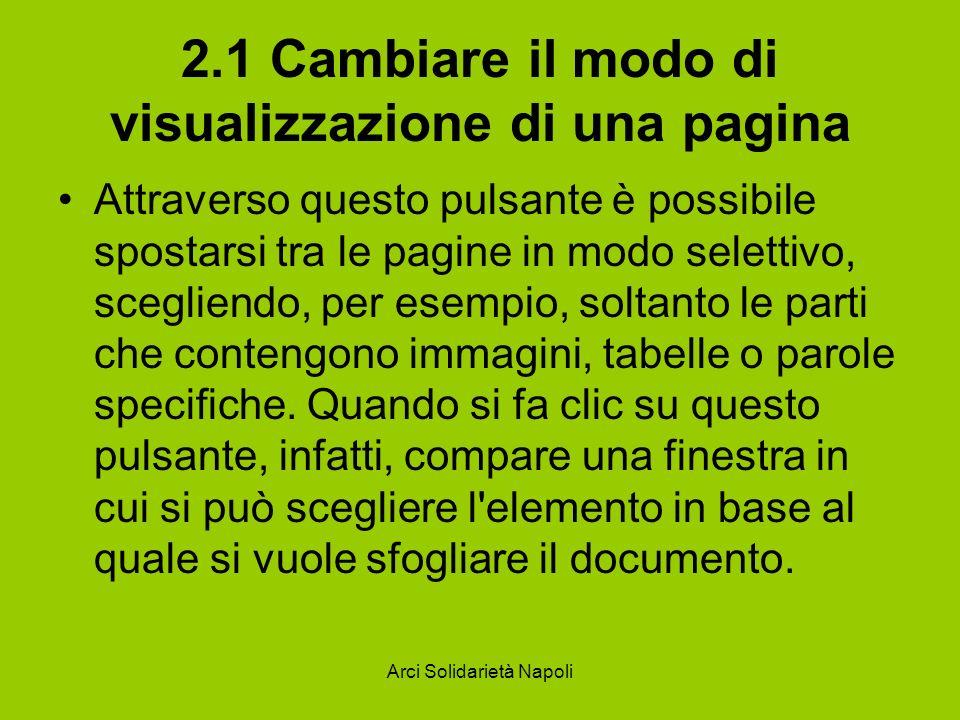Arci Solidarietà Napoli 2.1 Cambiare il modo di visualizzazione di una pagina Attraverso questo pulsante è possibile spostarsi tra le pagine in modo selettivo, scegliendo, per esempio, soltanto le parti che contengono immagini, tabelle o parole specifiche.