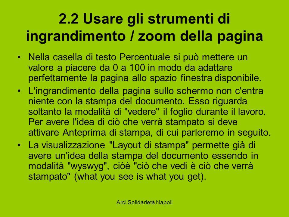 Arci Solidarietà Napoli 2.2 Usare gli strumenti di ingrandimento / zoom della pagina Nella casella di testo Percentuale si può mettere un valore a piacere da 0 a 100 in modo da adattare perfettamente la pagina allo spazio finestra disponibile.