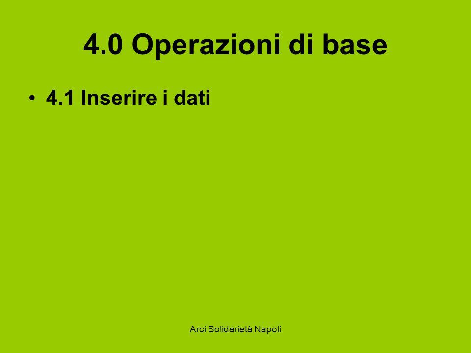 Arci Solidarietà Napoli 4.0 Operazioni di base 4.1 Inserire i dati