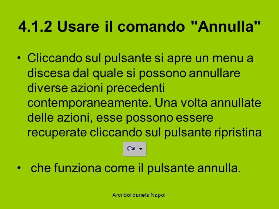 Arci Solidarietà Napoli 4.1.2 Usare il comando Annulla Cliccando sul pulsante si apre un menu a discesa dal quale si possono annullare diverse azioni precedenti contemporaneamente.