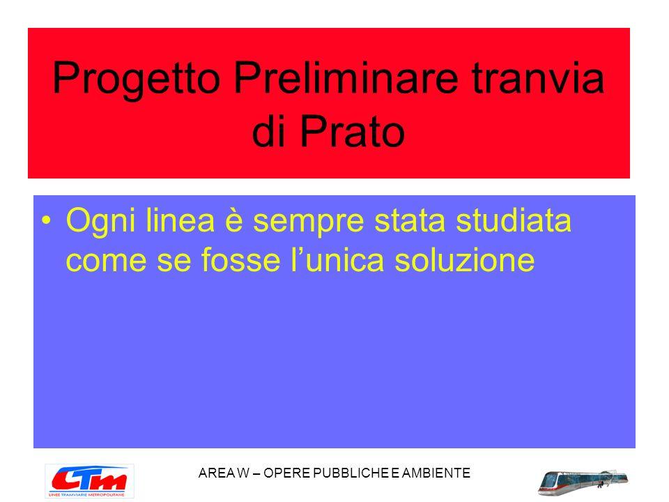 AREA W – OPERE PUBBLICHE E AMBIENTE Ogni linea è sempre stata studiata come se fosse lunica soluzione Progetto Preliminare tranvia di Prato