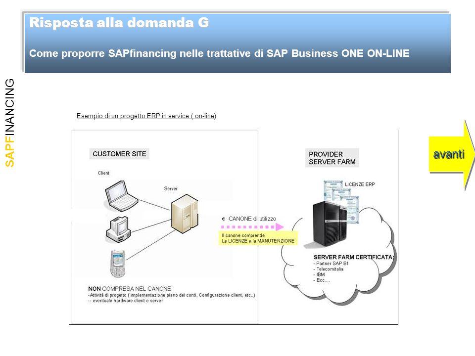 SAPFINANCING Risposta alla domanda G Risposta alla domanda G Come proporre SAPfinancing nelle trattative di SAP Business ONE ON-LINE avanti Esempio di un progetto ERP in service ( on-line)