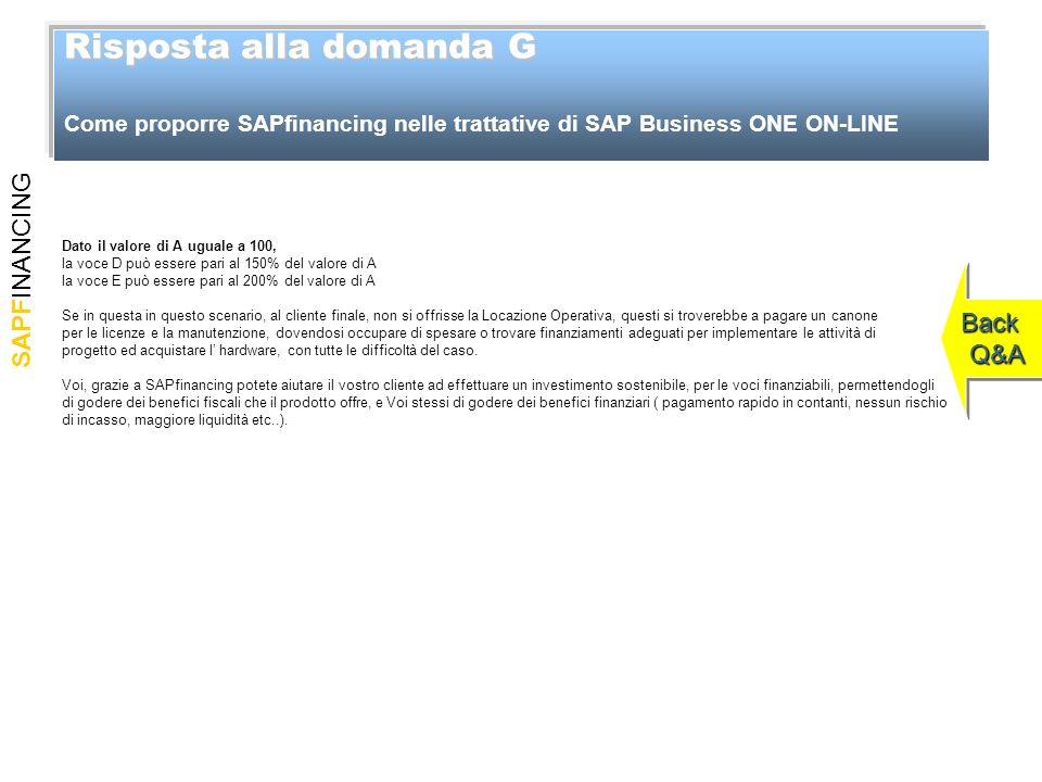 SAPFINANCING Risposta alla domanda G Risposta alla domanda G Come proporre SAPfinancing nelle trattative di SAP Business ONE ON-LINE Back Q&A Back Q&A
