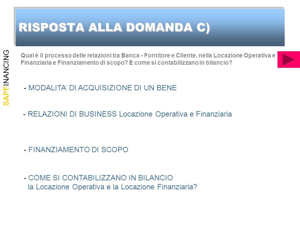 SAPFINANCING RISPOSTA ALLA DOMANDA C) Qual è il processo delle relazioni tra Banca - Fornitore e Cliente, nella Locazione Operativa e Finanziaria e Finanziamento di scopo.