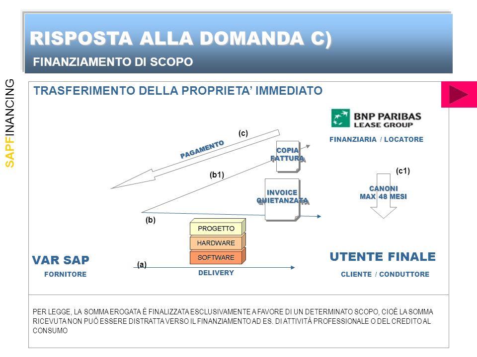 SAPFINANCING DELIVERY INVOICEQUIETANZATAINVOICEQUIETANZATA CANONI MAX 48 MESI PAGAMENTO (a) (b) (c) (c1) FORNITORECLIENTE / CONDUTTORE FINANZIARIA / LOCATORE PER LEGGE, LA SOMMA EROGATA È FINALIZZATA ESCLUSIVAMENTE A FAVORE DI UN DETERMINATO SCOPO, CIOÈ LA SOMMA RICEVUTA NON PUÒ ESSERE DISTRATTA VERSO IL FINANZIAMENTO AD ES.