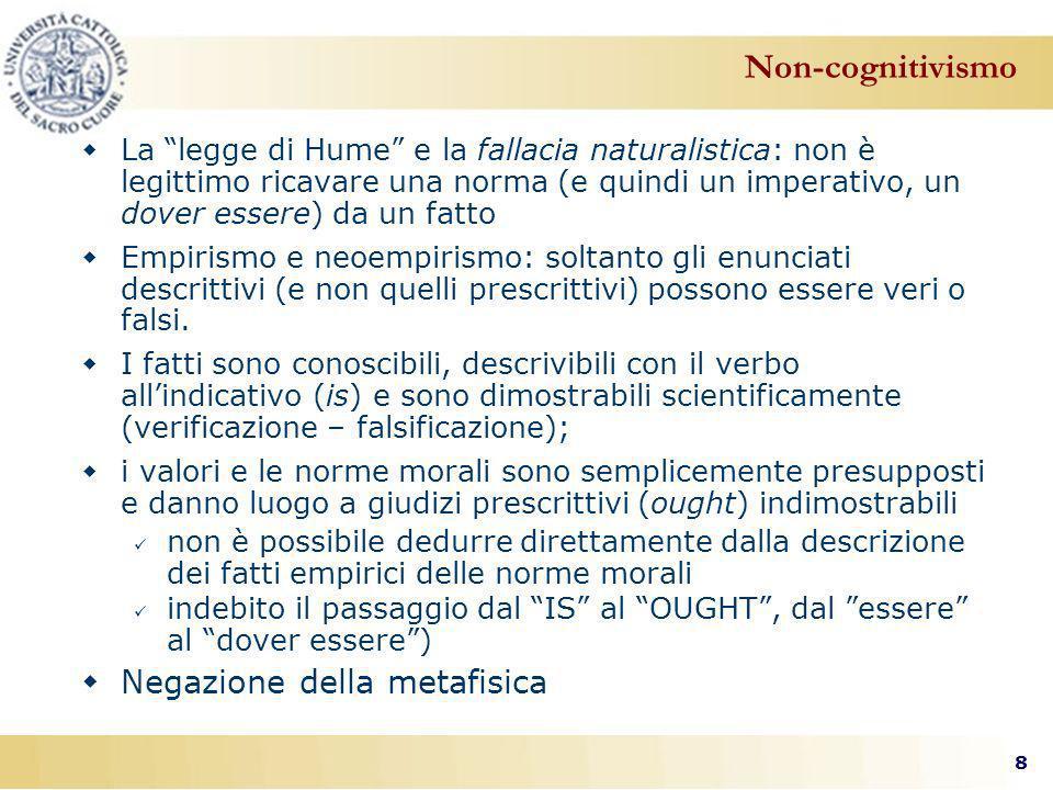 8 La legge di Hume e la fallacia naturalistica: non è legittimo ricavare una norma (e quindi un imperativo, un dover essere) da un fatto Empirismo e neoempirismo: soltanto gli enunciati descrittivi (e non quelli prescrittivi) possono essere veri o falsi.