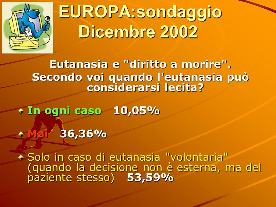 EUROPA:sondaggio Dicembre 2002 EUROPA:sondaggio Dicembre 2002 Eutanasia e
