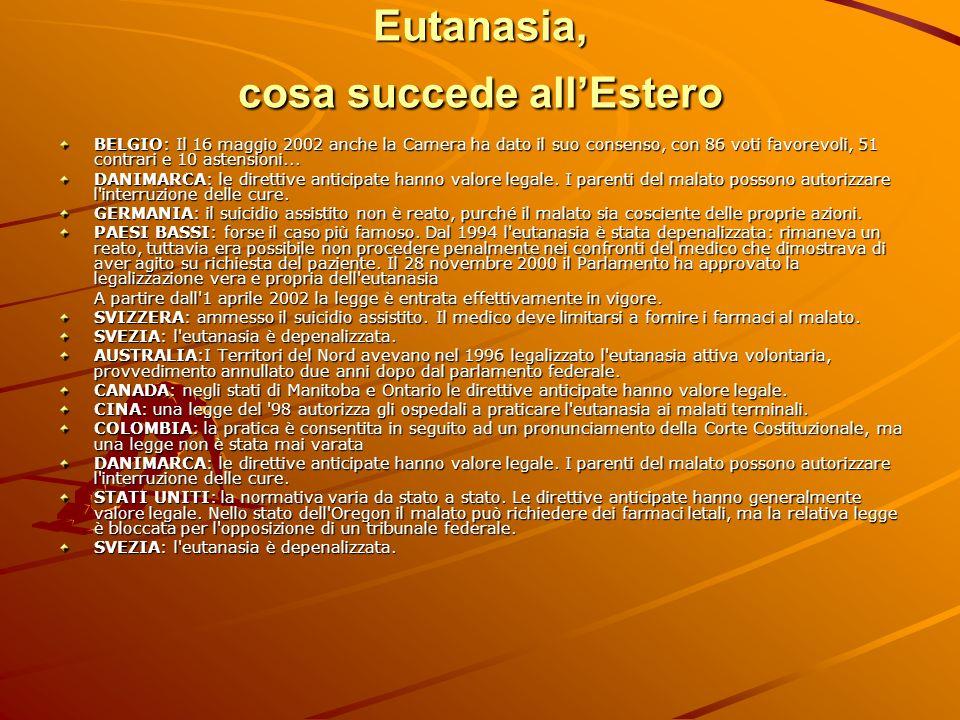 Eutanasia, cosa succede allEstero BELGIO: Il 16 maggio 2002 anche la Camera ha dato il suo consenso, con 86 voti favorevoli, 51 contrari e 10 astensio