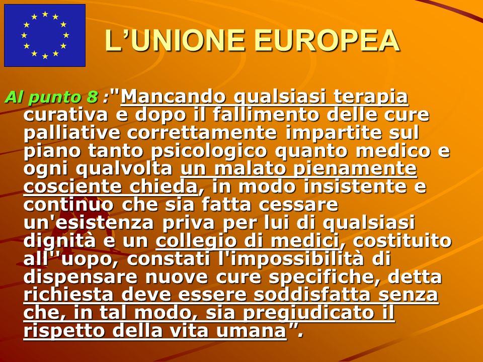 LUNIONE EUROPEA Al punto 8 :