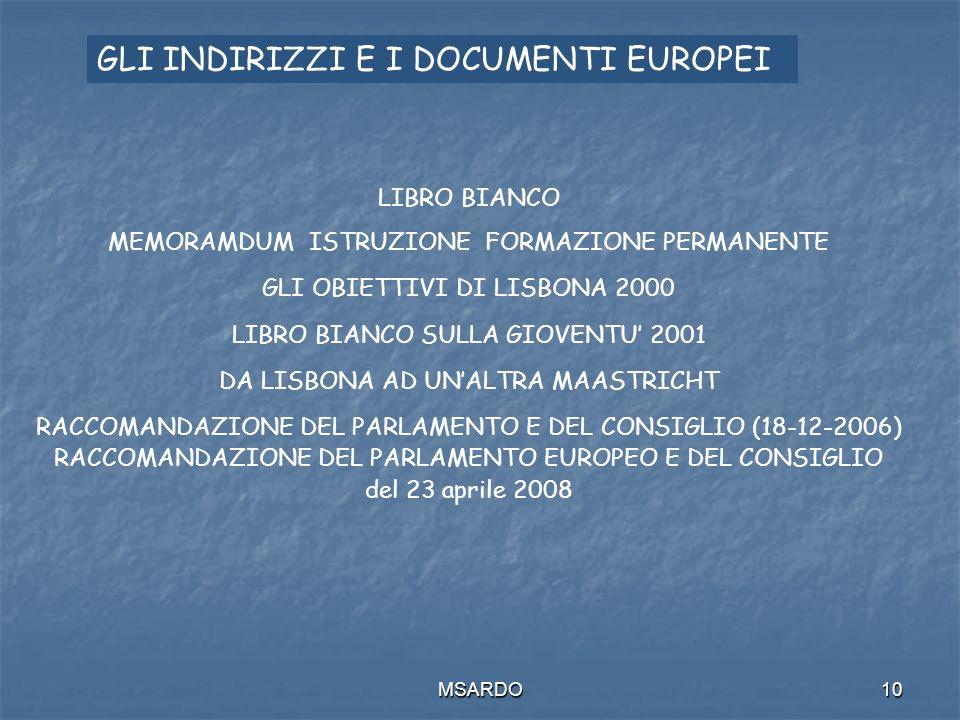 MSARDO10 LIBRO BIANCO MEMORAMDUM ISTRUZIONE FORMAZIONE PERMANENTE GLI OBIETTIVI DI LISBONA 2000 LIBRO BIANCO SULLA GIOVENTU 2001 DA LISBONA AD UNALTRA MAASTRICHT RACCOMANDAZIONE DEL PARLAMENTO E DEL CONSIGLIO (18-12-2006) RACCOMANDAZIONE DEL PARLAMENTO EUROPEO E DEL CONSIGLIO del 23 aprile 2008 GLI INDIRIZZI E I DOCUMENTI EUROPEI