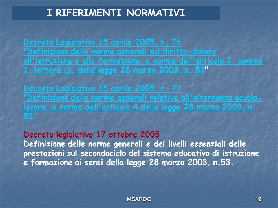 MSARDO19 I RIFERIMENTI NORMATIVI Decreto Legislativo 15 aprile 2005, n.