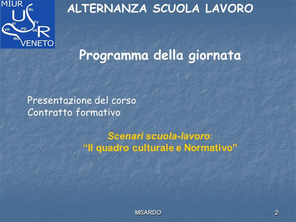 MSARDO2 ALTERNANZA SCUOLA LAVORO Programma della giornata Presentazione del corso Contratto formativo Scenari scuola-lavoro: Il quadro culturale e Normativo