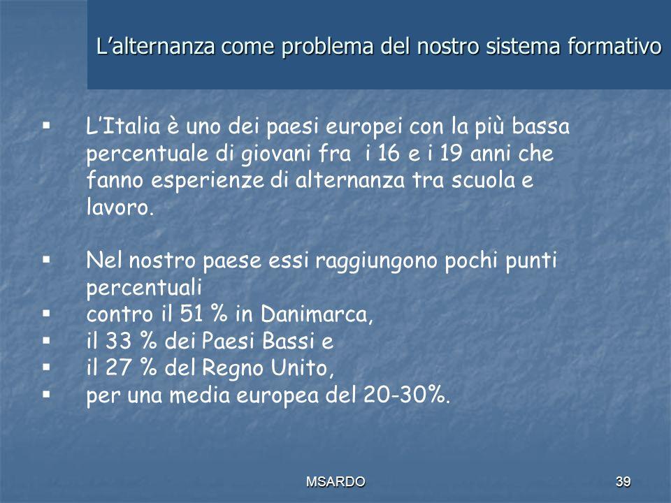 MSARDO39 Lalternanza come problema del nostro sistema formativo LItalia è uno dei paesi europei con la più bassa percentuale di giovani fra i 16 e i 19 anni che fanno esperienze di alternanza tra scuola e lavoro.