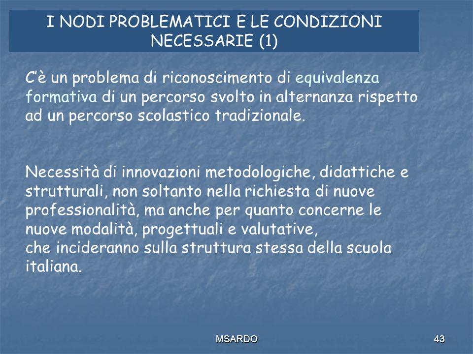 MSARDO43 I NODI PROBLEMATICI E LE CONDIZIONI NECESSARIE (1) Cè un problema di riconoscimento di equivalenza formativa di un percorso svolto in alternanza rispetto ad un percorso scolastico tradizionale.