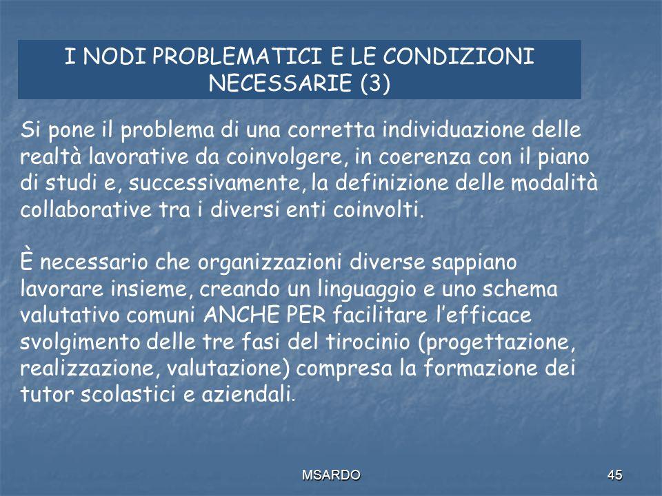 MSARDO45 I NODI PROBLEMATICI E LE CONDIZIONI NECESSARIE (3) Si pone il problema di una corretta individuazione delle realtà lavorative da coinvolgere, in coerenza con il piano di studi e, successivamente, la definizione delle modalità collaborative tra i diversi enti coinvolti.