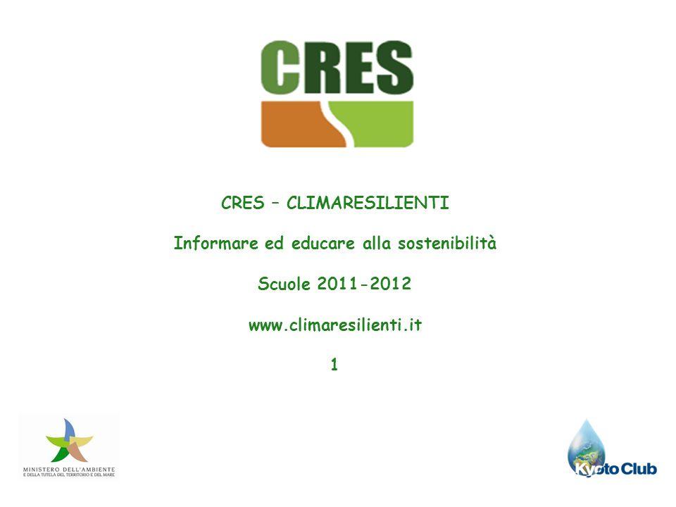 CRES – CLIMARESILIENTI Informare ed educare alla sostenibilità Scuole 2011-2012 www.climaresilienti.it 1