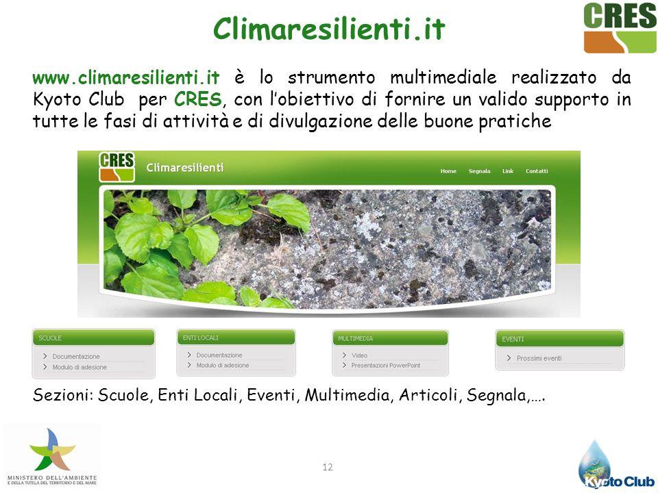12 Climaresilienti.it www.climaresilienti.it è lo strumento multimediale realizzato da Kyoto Club per CRES, con lobiettivo di fornire un valido suppor