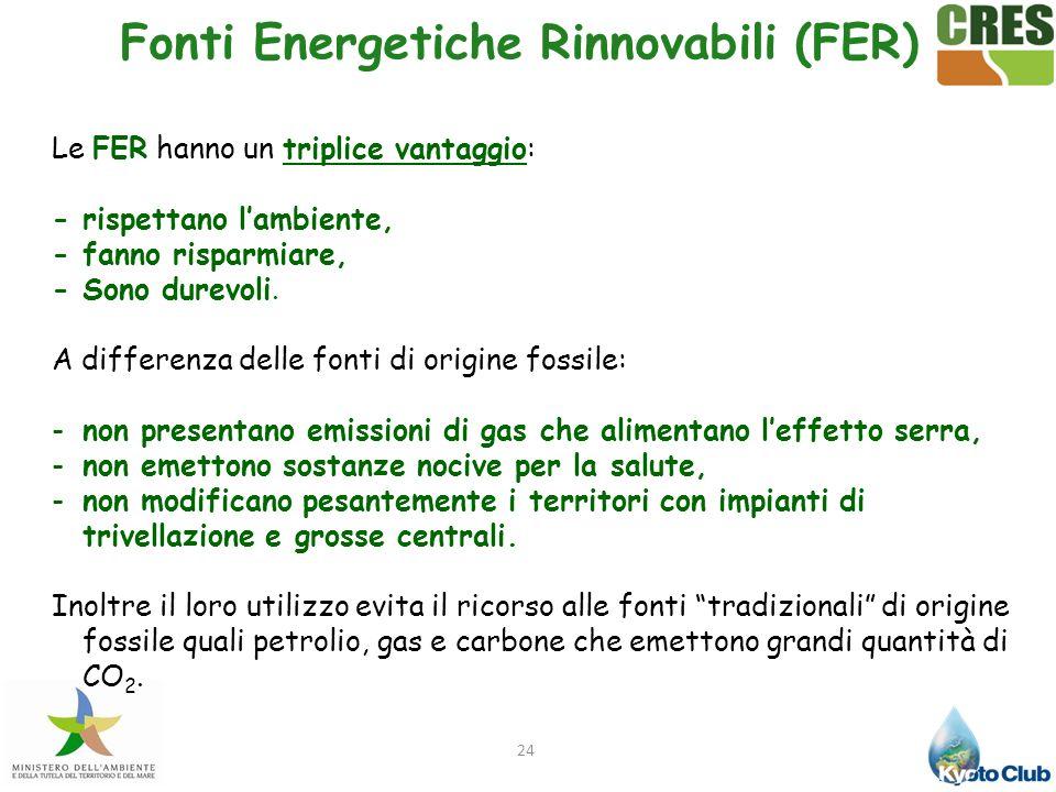 24 Le FER hanno un triplice vantaggio: - rispettano lambiente, - fanno risparmiare, - Sono durevoli. A differenza delle fonti di origine fossile: -non