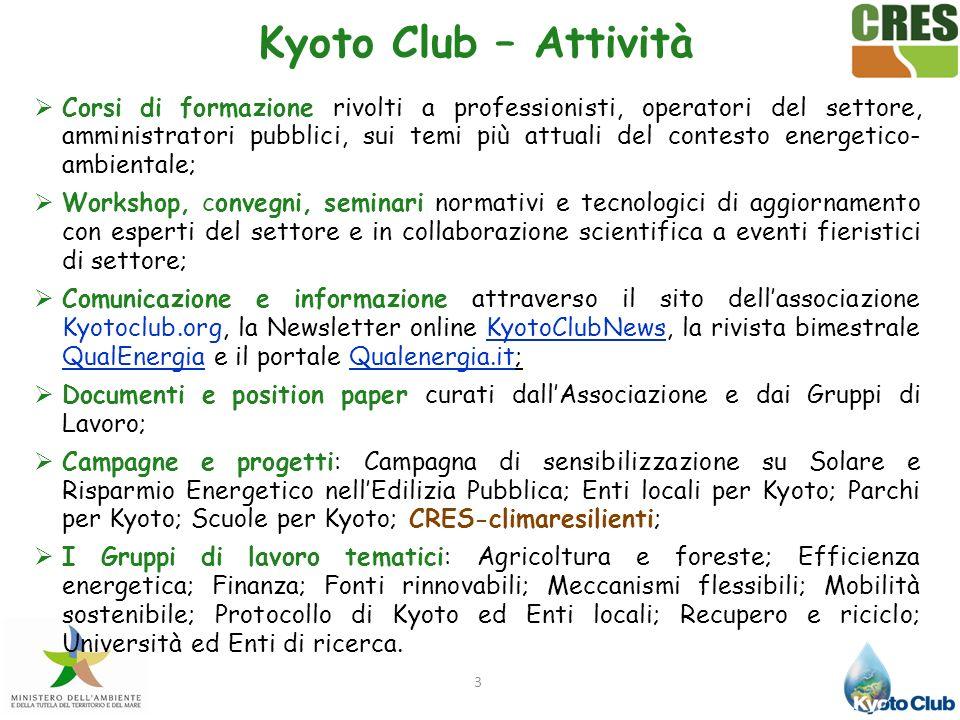 3 Kyoto Club – Attività Corsi di formazione rivolti a professionisti, operatori del settore, amministratori pubblici, sui temi più attuali del contest