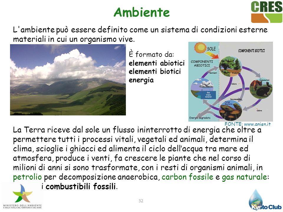 32 Ambiente L'ambiente può essere definito come un sistema di condizioni esterne materiali in cui un organismo vive. La Terra riceve dal sole un fluss