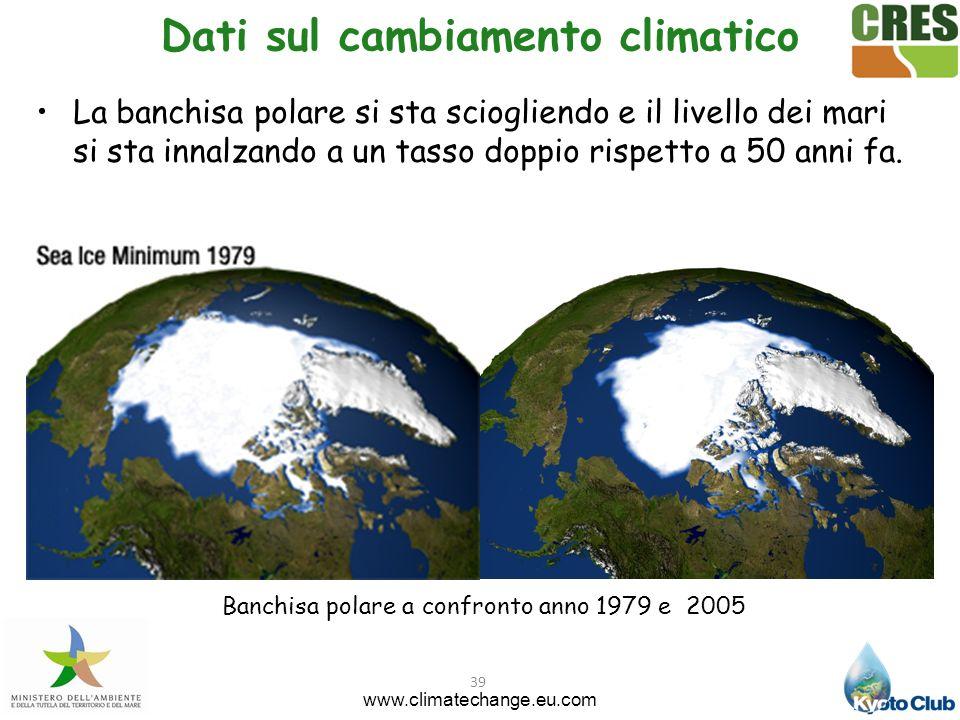 39 Banchisa polare a confronto anno 1979 e 2005 Dati sul cambiamento climatico www.climatechange.eu.com La banchisa polare si sta sciogliendo e il liv
