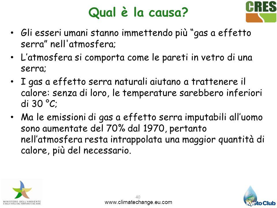 40 Qual è la causa? Gli esseri umani stanno immettendo più gas a effetto serra nell'atmosfera; Latmosfera si comporta come le pareti in vetro di una s