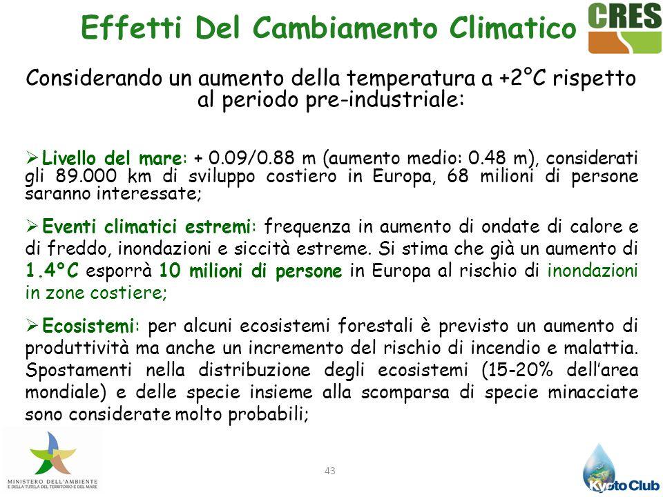43 Effetti Del Cambiamento Climatico Considerando un aumento della temperatura a +2°C rispetto al periodo pre-industriale: Livello del mare: + 0.09/0.