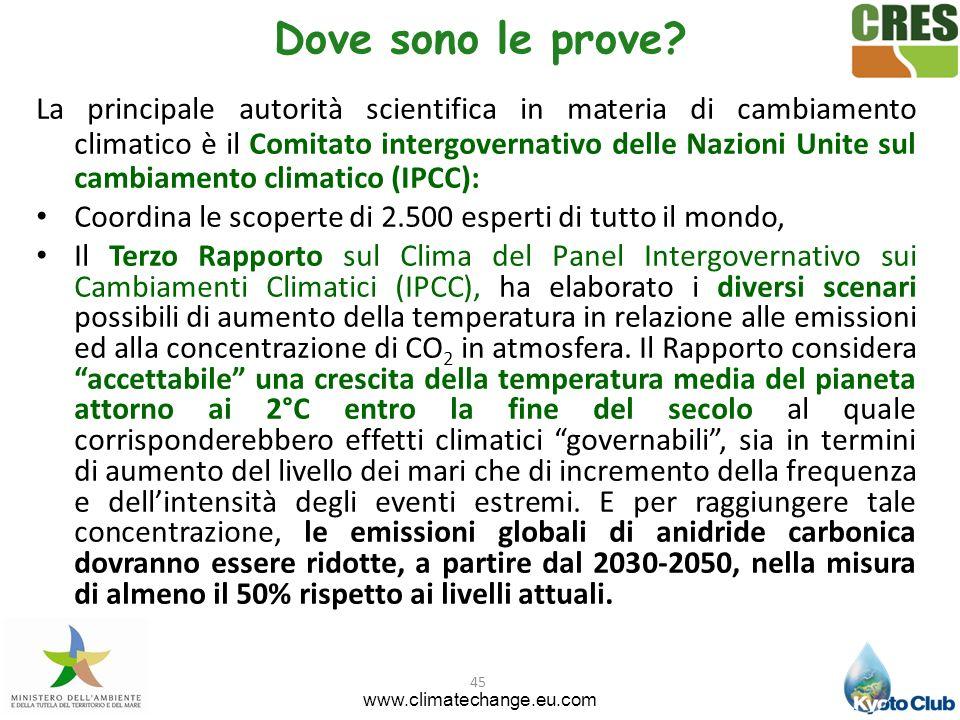 45 Dove sono le prove? La principale autorità scientifica in materia di cambiamento climatico è il Comitato intergovernativo delle Nazioni Unite sul c