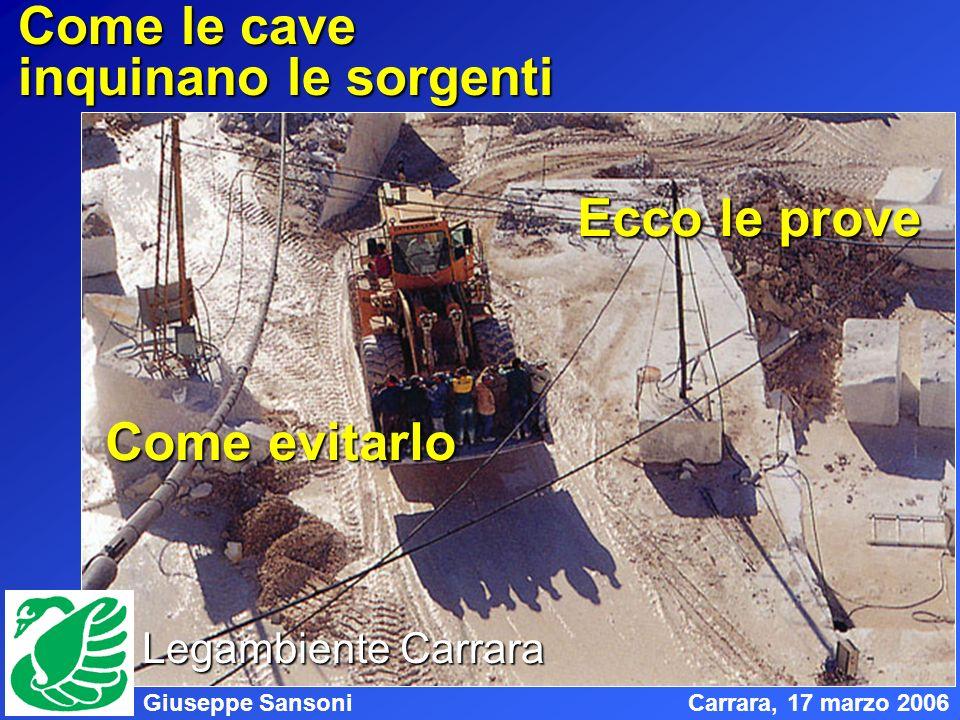 Giuseppe SansoniCarrara, 17 marzo 2006 Come le cave inquinano le sorgenti Ecco le prove Come evitarlo Legambiente Carrara