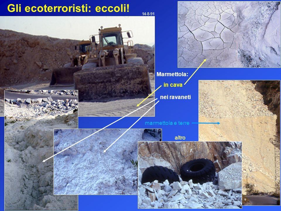 Gli ecoterroristi: eccoli! 14-8-91 in cava marmettola e terre Marmettola: nei ravaneti altro