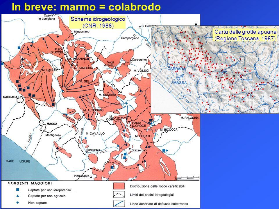 In breve: marmo = colabrodo Schema idrogeologico (CNR, 1988) Carta delle grotte apuane (Regione Toscana, 1987)