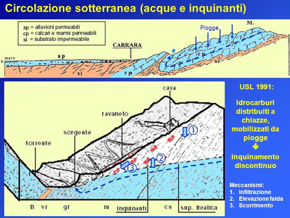 Circolazione sotterranea (acque e inquinanti) Piogge Meccanismi: 1. Infiltrazione 2. Elevazione falda 3. Scorrimento Idrocarburi distribuiti a chiazze