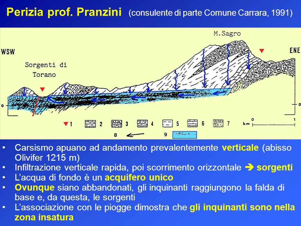 Perizia prof. Pranzini (consulente di parte Comune Carrara, 1991) Carsismo apuano ad andamento prevalentemente verticale (abisso Olivifer 1215 m) Infi