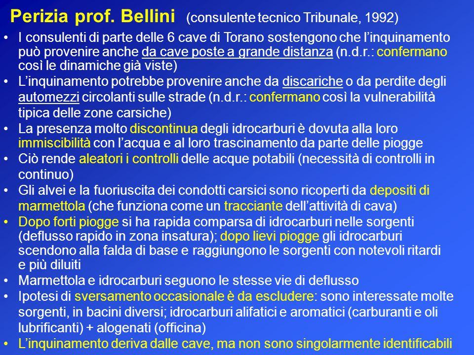 Perizia prof. Bellini (consulente tecnico Tribunale, 1992) I consulenti di parte delle 6 cave di Torano sostengono che linquinamento può provenire anc