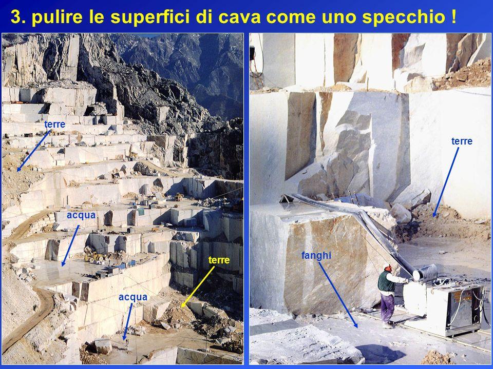 3. pulire le superfici di cava come uno specchio ! acqua terre fanghi terre