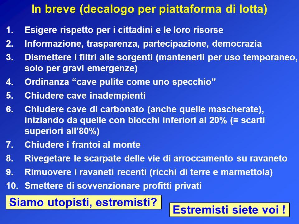 In breve (decalogo per piattaforma di lotta) 1.Esigere rispetto per i cittadini e le loro risorse 10.Smettere di sovvenzionare profitti privati 9.Rimu