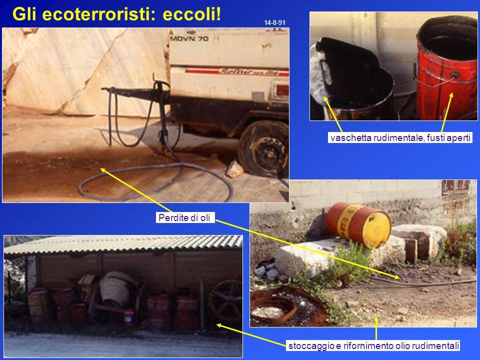 Gli ecoterroristi: eccoli! 14-8-91 Perdite di oli vaschetta rudimentale, fusti aperti stoccaggio e rifornimento olio rudimentali