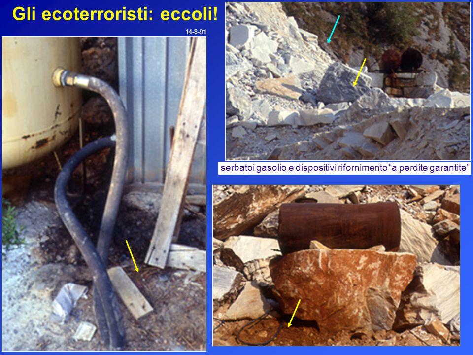 Gli ecoterroristi: eccoli! 14-8-91 serbatoi gasolio e dispositivi rifornimento a perdite garantite