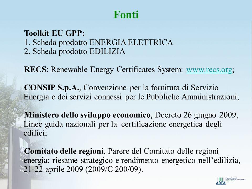 Fonti Toolkit EU GPP: 1. Scheda prodotto ENERGIA ELETTRICA 2.