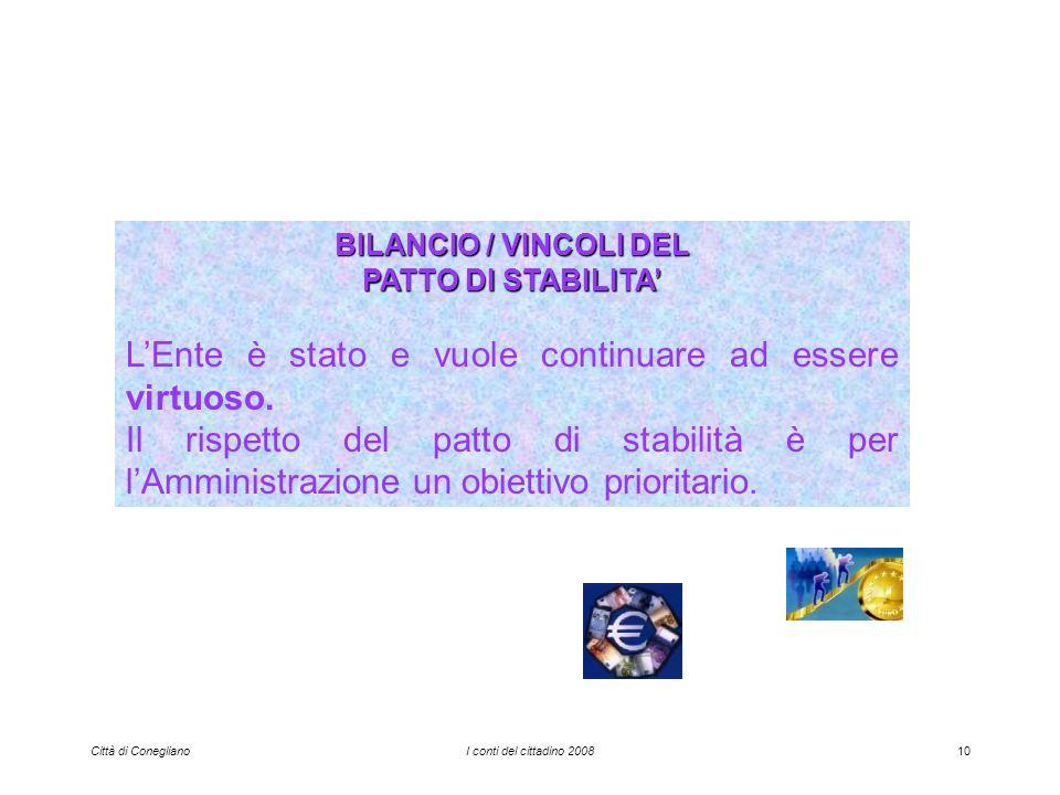 Città di ConeglianoI conti del cittadino 200810 BILANCIO / VINCOLI DEL PATTO DI STABILITA LEnte è stato e vuole continuare ad essere virtuoso.
